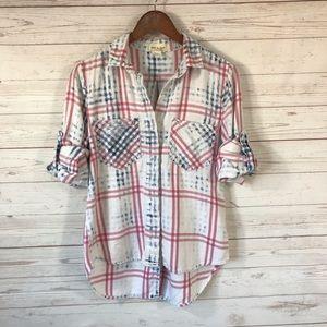 Cloth & Stone Plaid Flannel Split Back Shirt XS